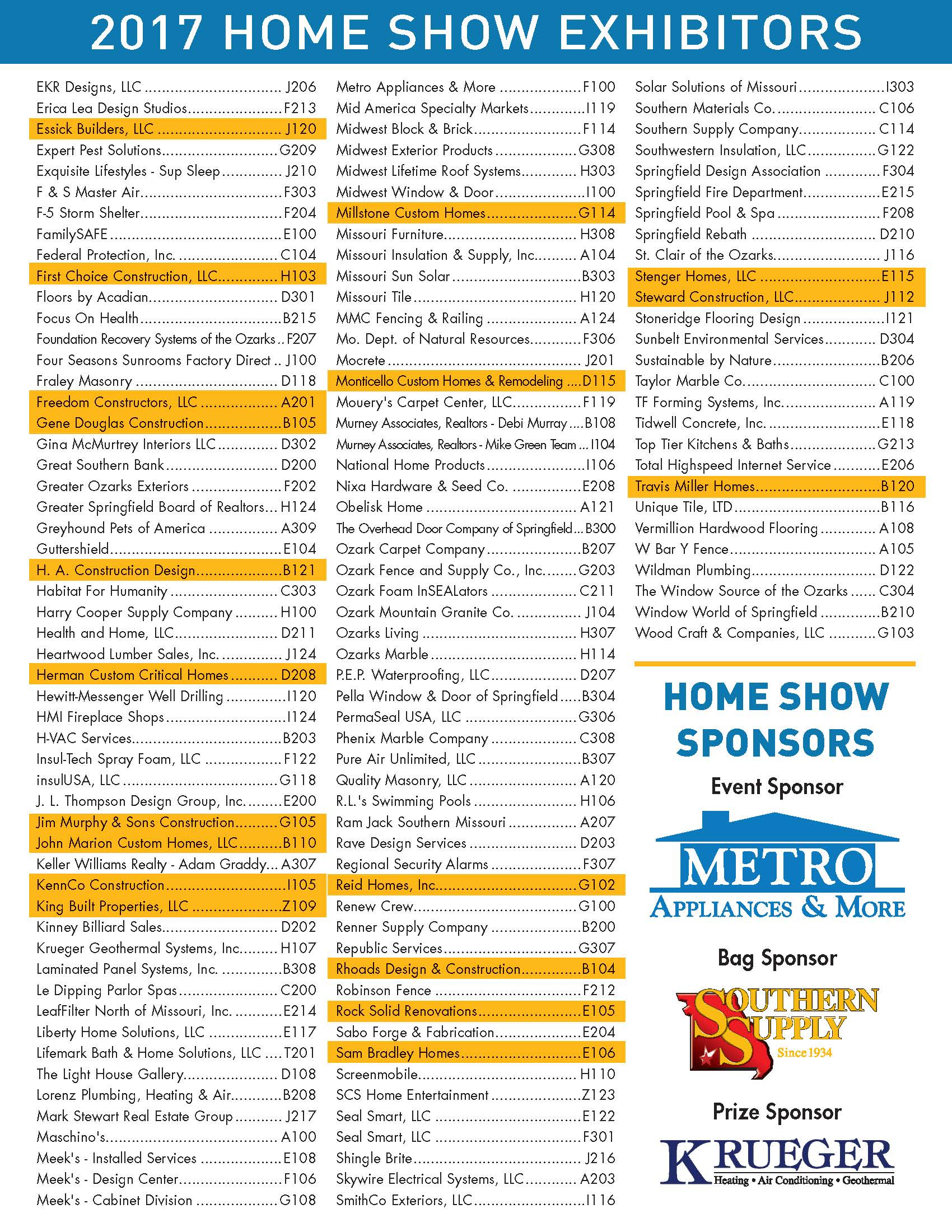 Hba Home Show Exhibitor List Hba Of Greater Springfield