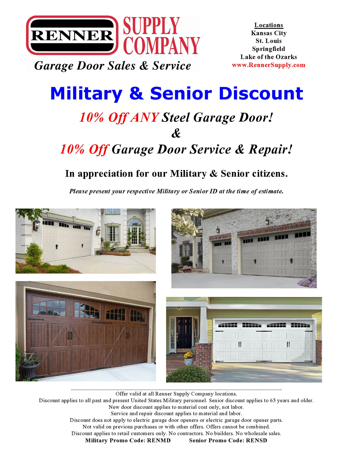 Renner supply extends military and senior discount home for Garage door repair st louis mo