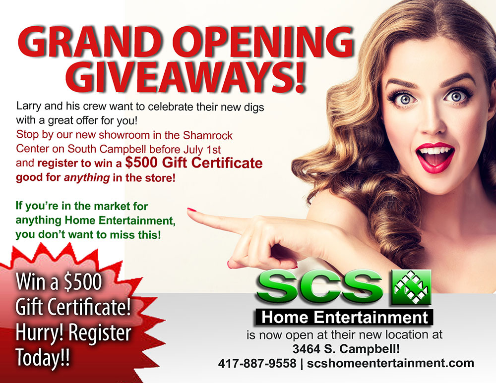 SCS Home Entertainment Grand Opening Giveaways