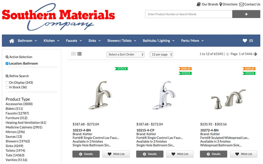 Wish-List at Southern Materials Website Clip