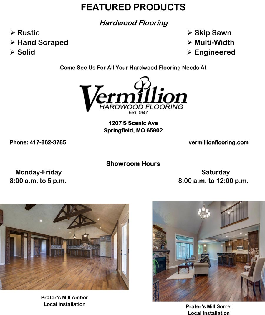 Skip Sawn, Hand Scraped or Engineered Hardwood Flooring - Vermillion