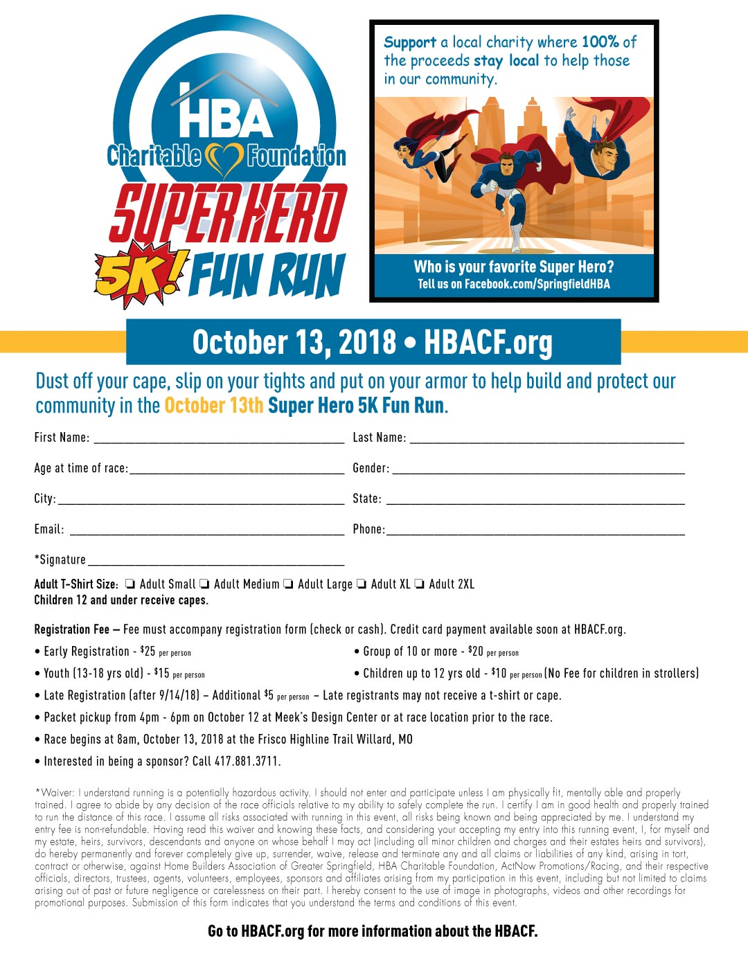 HBACF 5K Super Hero Fun Run