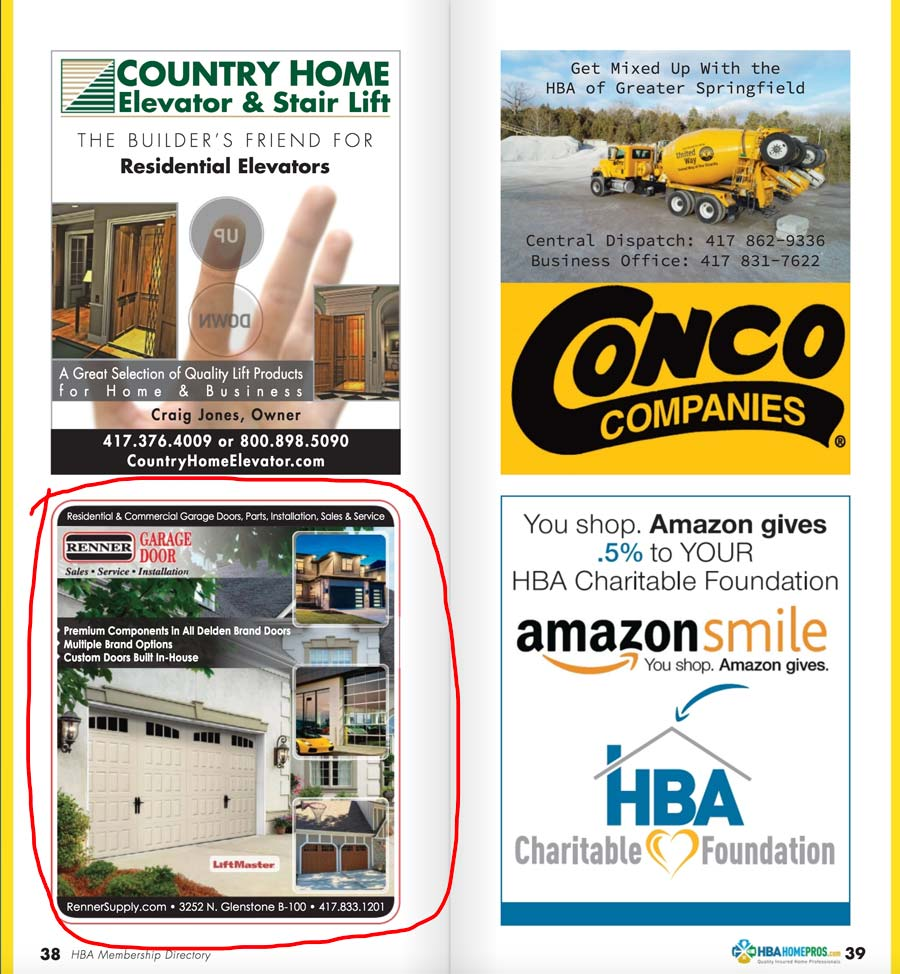HBA Home Pros directory 1/2 page ad
