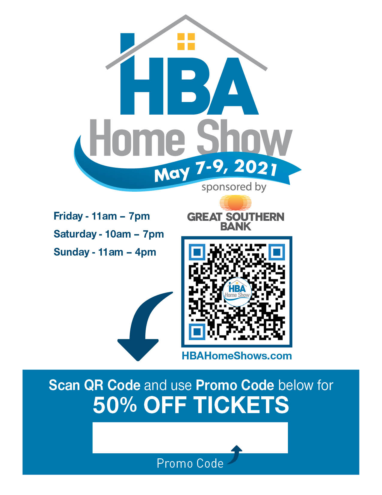 Home Show Tickets Flyer with Sponsor - Use Your Promo Code